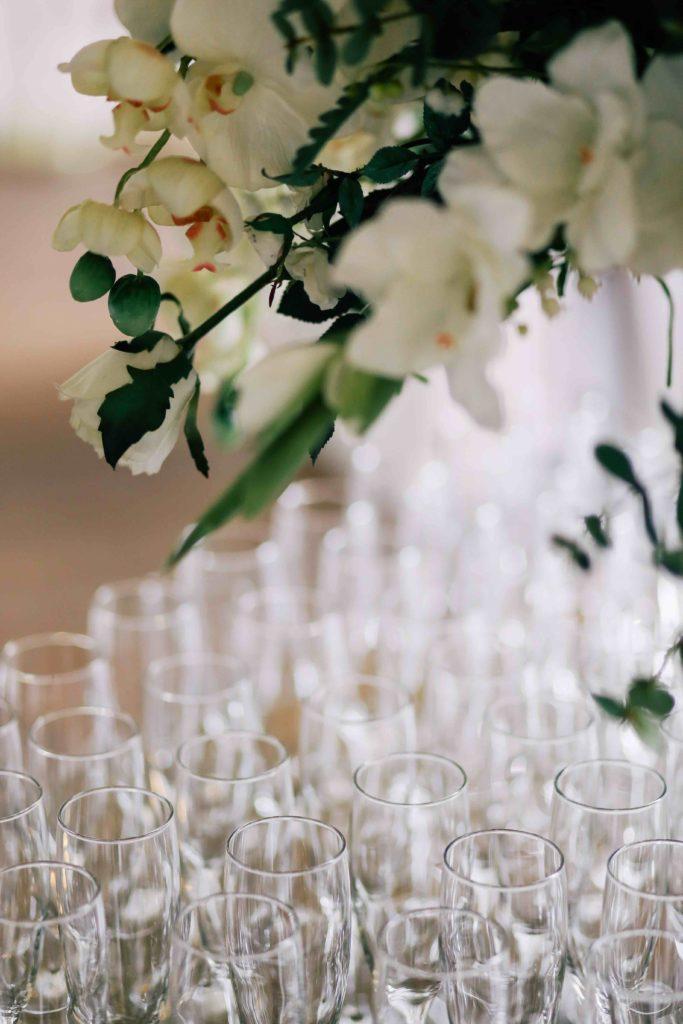 Champagneglas, bryllupsstemning på Frændekilde